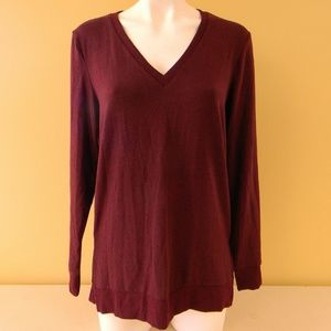 Lucky Brand V-Neck Sweater Size S/P Burgundy Red 6